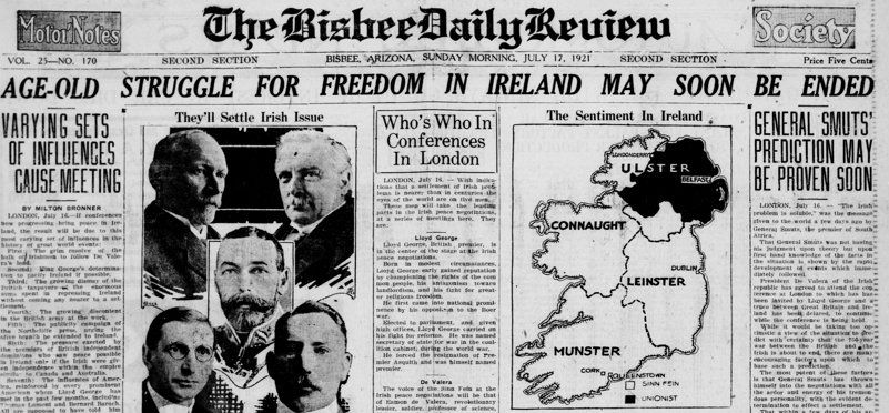 1921 - Irish peace at hand